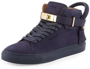 Buscemi 100mm Men's Nubuck Leather High-Top Sneaker, Blue Ink