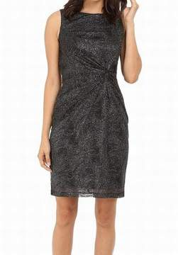 Calvin Klein Women's Twist-Front Glittered Chiffon Dress