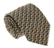 Missoni U5089 Green/yellow Basketweave 100% Silk Tie.