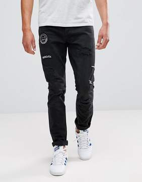 ONLY & SONS Carrot Fit Jeans With Badge Details