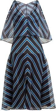 Fendi V-neck chevron-striped silk dress