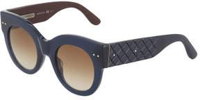 Bottega Veneta Plastic Round Sunglasses, Blue