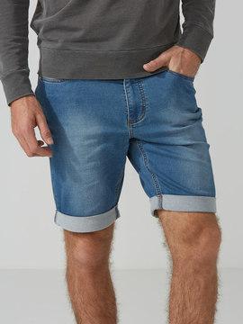 Frank and Oak French Terry Denim Shorts in Medium Indigo