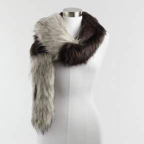 World Market Gray and Black Colorblock Faux Fur Stole