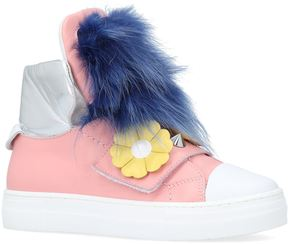 Fendi Flower High-Top Sneakers