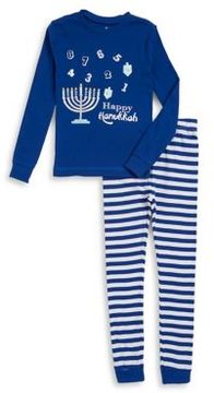 Petit Lem Little Boy's Two-Piece Graphic Top and Striped Pants Pajama Set