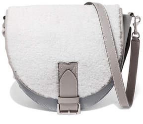 J.W.Anderson Bike Lace-up Smooth And Textured-leather And Shearling Shoulder Bag - Light gray