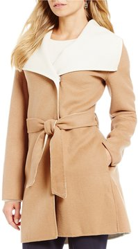 Antonio Melani Shawl Collar Double Face Wool Wrap Coat