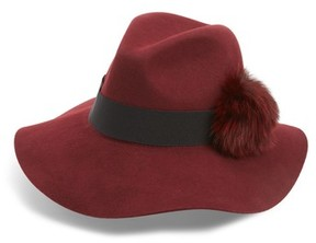 Shiraleah Women's Paris Genuine Fox Fur Trim Fedora - Red