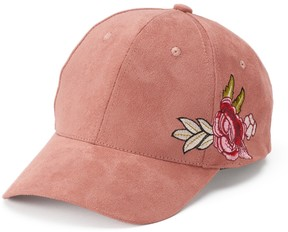 Mudd Women's Embroidered Rose Suede Baseball Cap