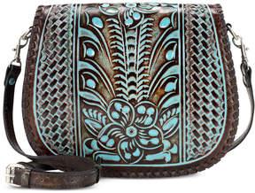 Patricia Nash Turquoise Tooled Savini Saddle Bag
