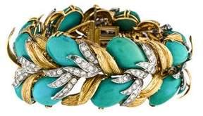 David Webb 18K Turquoise & Diamond Bracelet
