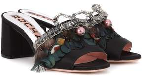 Rochas Feather-embellished satin sandals