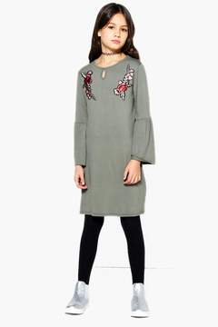 boohoo Girls Embroidered Tie Front Dress