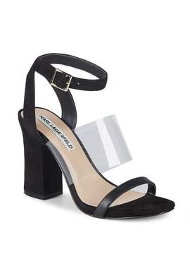 Karl Lagerfeld Paris Women's Raya Leather Ankle Strap Sandals