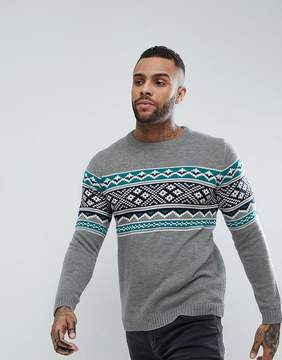 Pull&Bear Fair Isle Sweater In Gray