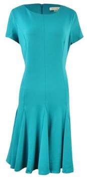 Calvin Klein Women's Crewneck Short Sleeves Ponte Flared Dress