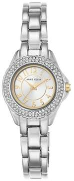Anne Klein Crystal Bezel Round Silvertone Dial Bracelet Watch