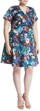 Alexia Admor Plus Wrapped Floral Fit-&-Flare Dress, Plus Size