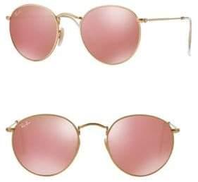 Ray-Ban Mirrored Round Metal Sunglasses