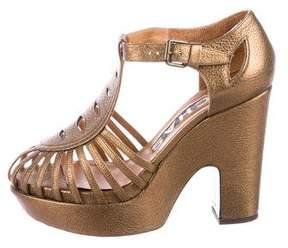 Rochas Metallic Platform Sandals