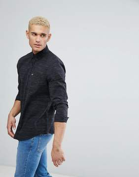 Hollister Logo Pocket Textured Slim Fit Shirt in Black