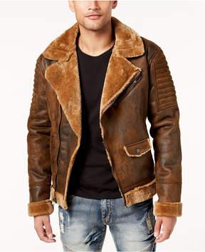 Reason Men's Aeronaut Moto Jacket with Faux-Fur Lining