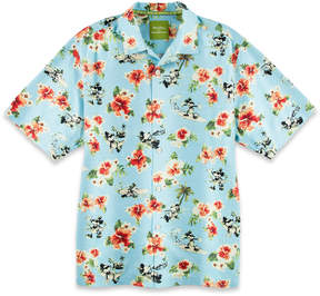 Disney Mickey Mouse Woven Floral Shirt for Men by Tommy Bahama - Blue