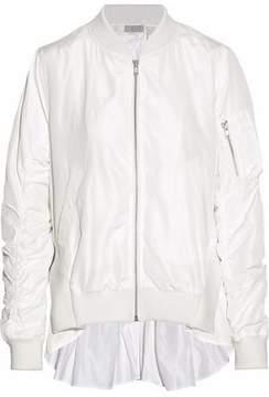 Clu Ribbed Knit-Paneled Ruched Shell Bomber Jacket