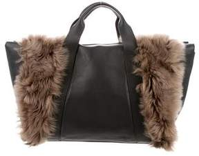 Brunello Cucinelli Shearling-Trimmed Leather Tote