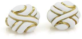 David Webb 18K Yellow Gold with White Enamel Fancy Post Clip Earrings