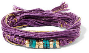 Aurelie Bidermann Takayama Cotton, Gold-plated And Turquoise Wrap Bracelet - Purple