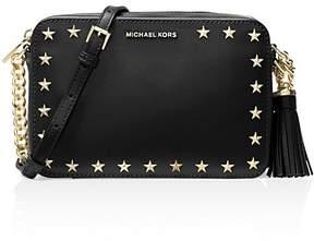 MICHAEL Michael Kors Ginny Star Stud Medium Leather Camera Bag - BLACK/GOLD - STYLE