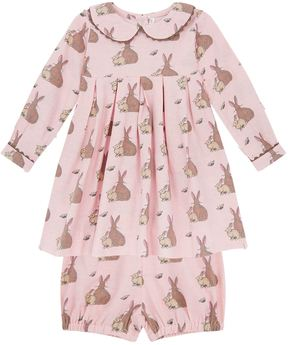 Rachel Riley Tie Back Bunny Flannel Dress With Bloomers