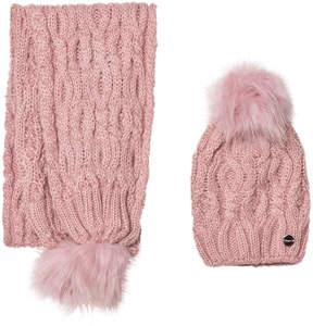 Mayoral Pink Chunky Knit Pom Pom Hat and Pom Pom Scarf Set