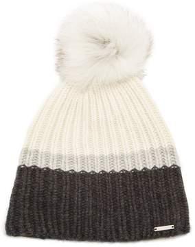 Woolrich Striped fur-pompom ribbed-knit cashmere hat