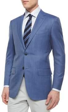 Ermenegildo Zegna Micro-Check Wool Blazer, Blue
