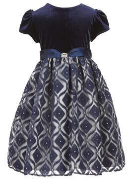 Jayne Copeland Little Girls 2T-6X Velvet Patterned Dress