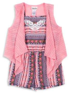 Little Lass Little Girl's Two-Piece Printed Romper and Vest Set