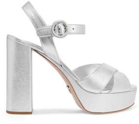 Prada Metallic Textured-leather Platform Sandals - Silver