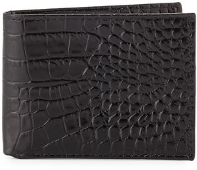 Neiman Marcus Crocodile-Embossed Slim Leather Wallet, Black