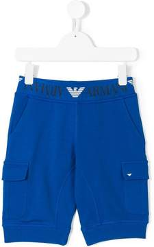 Emporio Armani Kids logo waistband cargo shorts