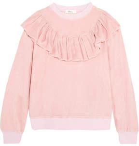 Clu Ruffled Velour Sweatshirt - Pink