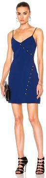 David Koma Loops & Metal Balls Detailing V-Cut Mini Dress in Blue.