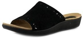 Earth Origins Valorie W Open Toe Leather Slides Sandal.