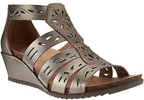 Earth Origins Leather Perforated Multi-strap Wedges - Ruby