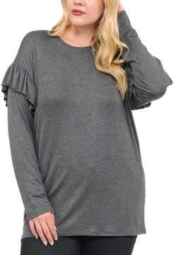 Bellino Charcoal Shoulder-Ruffle Top - Plus