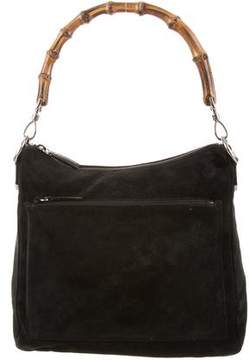 Gucci Suede Bamboo Hobo - BLACK - STYLE