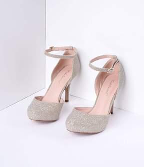 Unique Vintage Gold Metallic Rhinestone d'Orsay Covet Heels Shoes