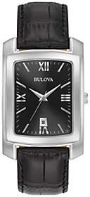 Bulova Men's Classic Black Leather Strap Watch